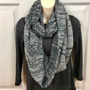 Blue KNIT WRAP SCARF INFINITY Metallic white warm